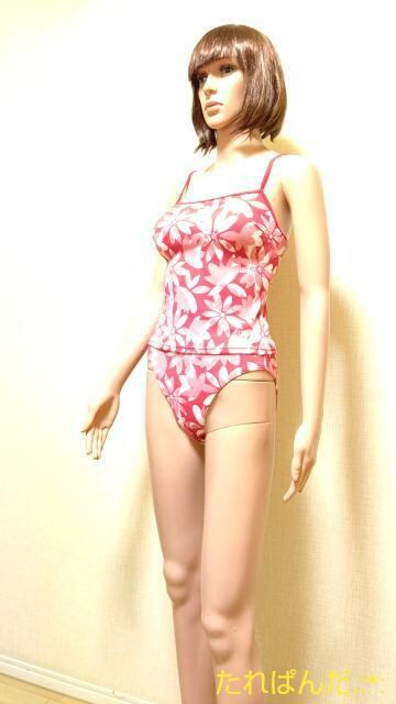 ☆UNIQLO☆M☆奇麗なピンクお花柄のタンキニ5145☆3点で即落 < ブランドの