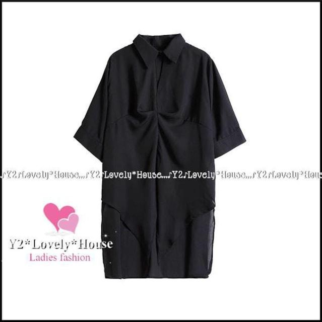 〜3L4L*チョーカー風前結びりぼんシフォンブラウス*黒 < 女性ファッションの