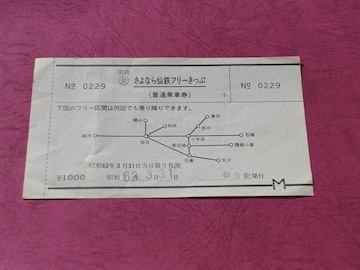 ☆「国鉄最終日のみ有効」のフリー区間乗り放題の切符☆未使用