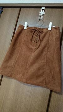 105【ハニーズ】スカート*ミニ*スエード調*茶/キャメル*M