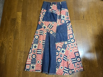 送料無料/ヒステリックグラマー ピンク系ロゴ入り継接ぎデザインロングスカート