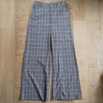 GU チェックワイドパンツ XL