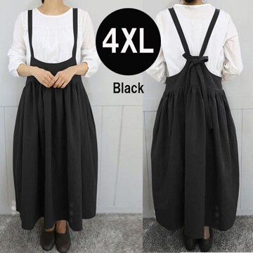 新品[7642]4XL(大きいサイズ)黒サロペット風のかわいいロングスカート