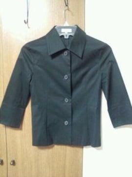 黒八分袖綿ジャケットステンカラー国産上質硬め良い生地M7〜9号