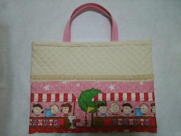 ☆handmade☆絵本袋☆スヌーピー☆ピンク☆