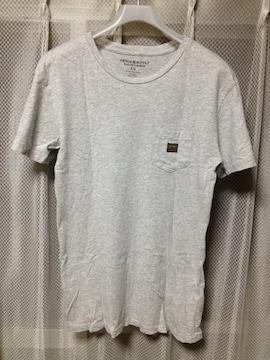 デニム&サプライ ラルフローレン 無地ポケット 半袖Tシャツ XSサイズ ユーズド加工 グレー