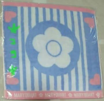 マリークヮント ハートストライプデイジー ブルー ハンドタオル