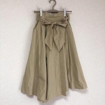 ウエストリボン リネン混み、ミモレ丈スカート♪
