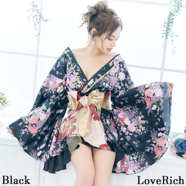 着物ドレス 豪華絢爛 帯付き フリル 花柄 花魁風 衣装 < 女性ファッションの