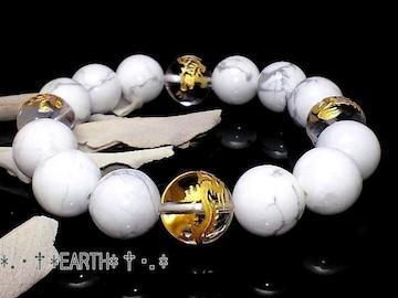 天然石★12ミリ金彫四神獣水晶&ハウライト数珠