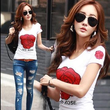 キラキラスパンコール ローズ柄 半袖Tシャツ 大きいサイズ