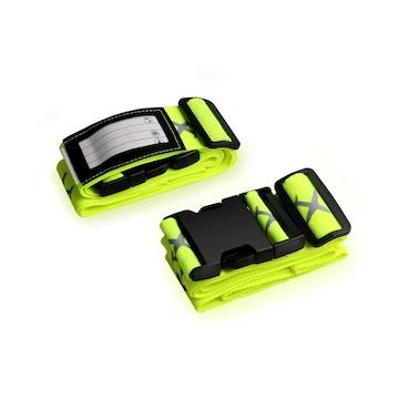 スーツケースベルト 2本組 蛍光十字型 ロック搭載バンド y
