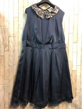 新品☆21号3L大きいサイズ付け衿つきパーティワンピース紺s910