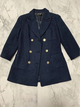 CCマーク紺色ツイードテーラードジャケット 美品S サイズ