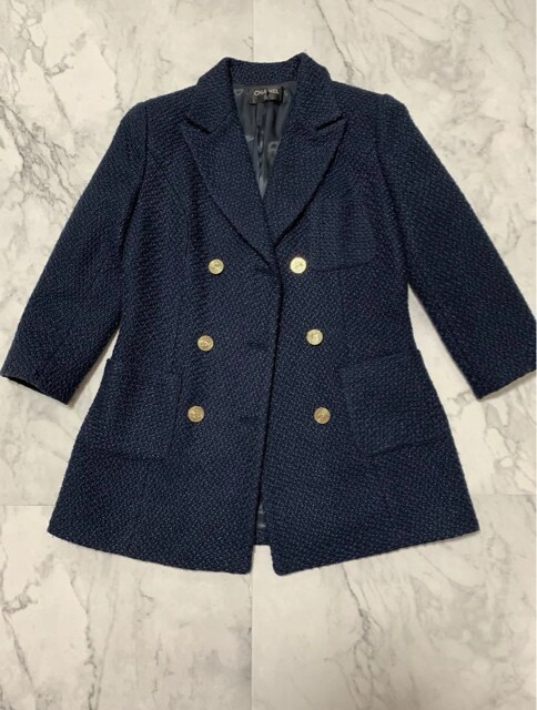 CCマーク紺色ツイードテーラードジャケット 美品S サイズ  < 女性ファッションの
