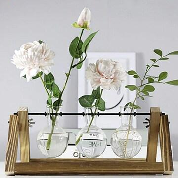 フラスコ型 花瓶 ガラス 透明 クリア 木製 オシャレ