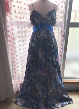 ペイズリー×花柄 ビジュ おリボン サテン ロングドレス
