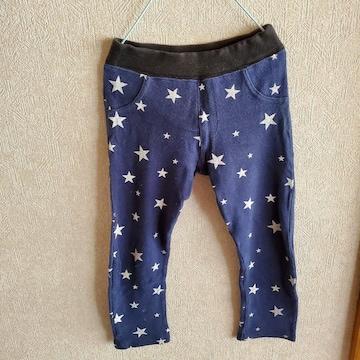 紺に星柄ウエスト黒の長ズボン110