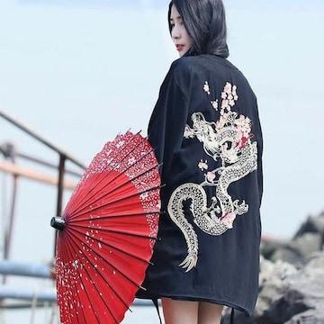 龍と桜 刺繍 法被 フリーサイズ