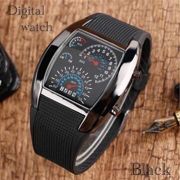 腕時計 デジタル腕時計 時計 LED スポーツ時計 ゴムベルト 黒