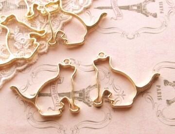 猫レジン枠空枠2個ゴールド
