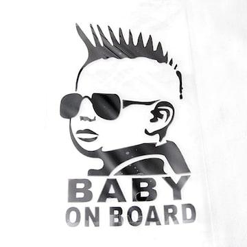 モヒカンベビー カーステッカー ブラック Baby in car