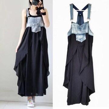 新品[7556]XXXL(大きいサイズ)デニムX黒変形サロペットスカート