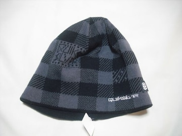 mb233 男 QUIKSILVER クイックシルバー ニット帽 チェック柄