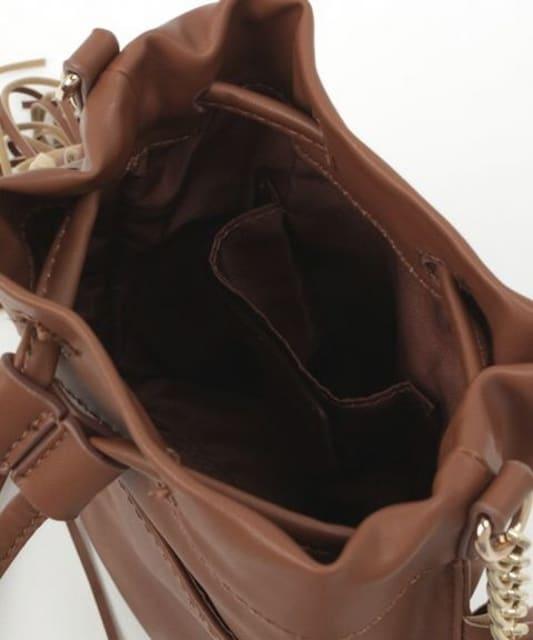 新品タグ付VISビスフリンジショルダーバッグ茶ブラウンカバン鞄フェイクレザー < ブランドの