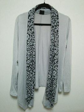 新品◆Taucy Cool◆レオパード柄スカーフグレーカーディガンL