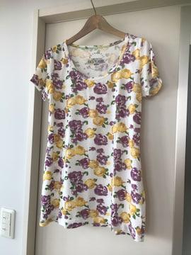 フラワープリントTシャツ  L