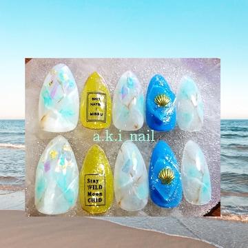ジェルネイルチップ☆付け爪~シアーホワイト~ニュアンス~大理石