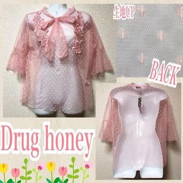 【新品/Drug honey】ドット柄フラワー刺繍リボンタイ付ブラウス