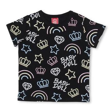 新品BABYDOLL☆120 王冠 ロゴ ネオン総柄 Tシャツ 黒 ベビードール