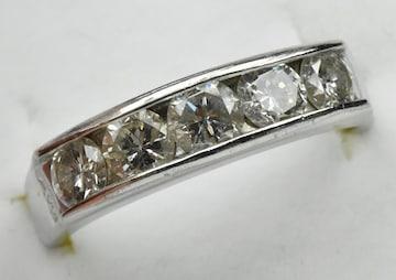 【鑑別】Pt900 一文字 合計 1.00ct ダイヤモンドリング 10.5号