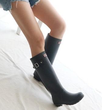 黒雨の日長靴ブラックロングブーツレインブーツゴムBLACKラバー