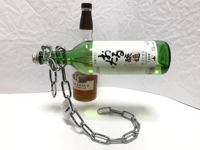ワイン瓶コレクション◎チェーン不思議インテリア◎ボトルホルダー◎新品 < グルメ/ドリンクの