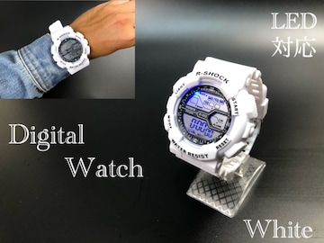 スポーツ腕時計 LED デジタル 腕時計 時計 キャンプ ホワイト