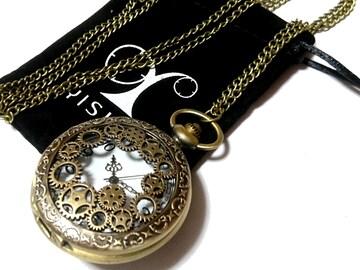 【新品・未使用】スケルトン装飾のスチームパンク風 懐中時計