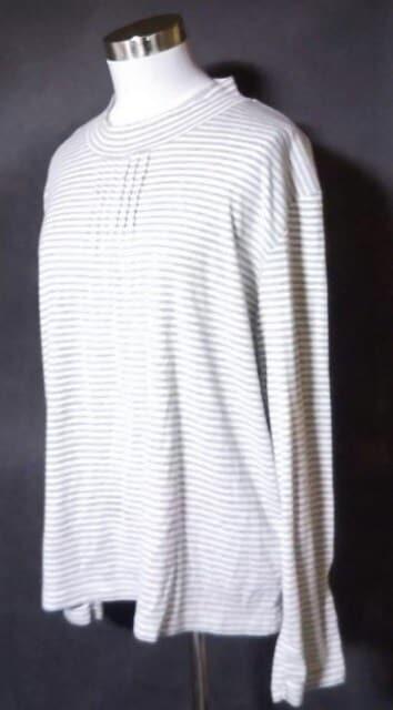 グレーボーダー長袖カットソー4L大きいサイズ < 女性ファッションの