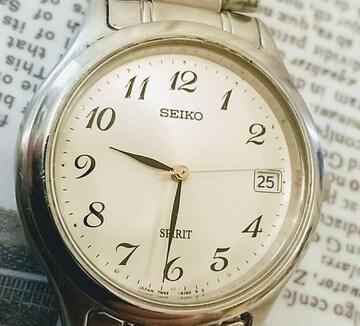 SEIKOスピリット腕時計 デイト  スチールベルト 青焼針