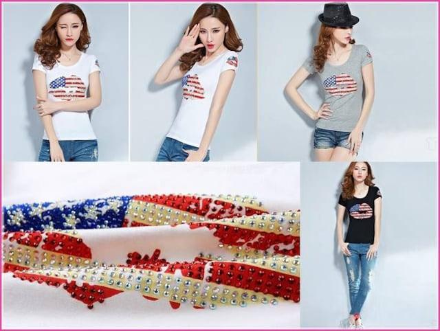 キラキラストーン付プリントTシャツ☆トップス レディース☆クチビル 星条旗 < 女性ファッションの