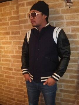 【TOMMY】トミーカレッジスタイルメルトン×レザースタジャン濃紺M♪