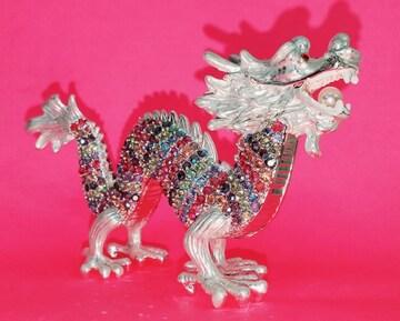 ホワイトドラゴン 龍 竜 置物 クリスタル ラインストーン