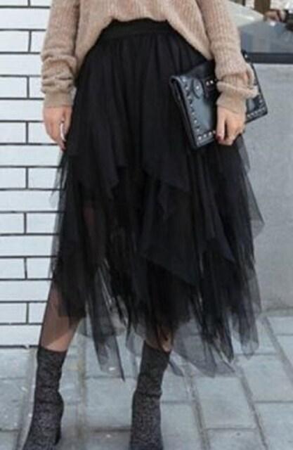 黒アシンメトリーチュールスカートミモレ丈ひざ丈ロングスカートロックゴスロリコスプレ  < 女性ファッションの