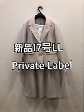 新品☆17号LLプライベートレーベル入学卒業ベージュ系スーツd136