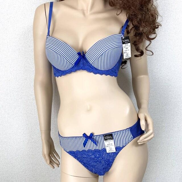 女装☆B80L ソニア青 ブラジャー&パンティ 大きいサイズ < 女性ファッションの