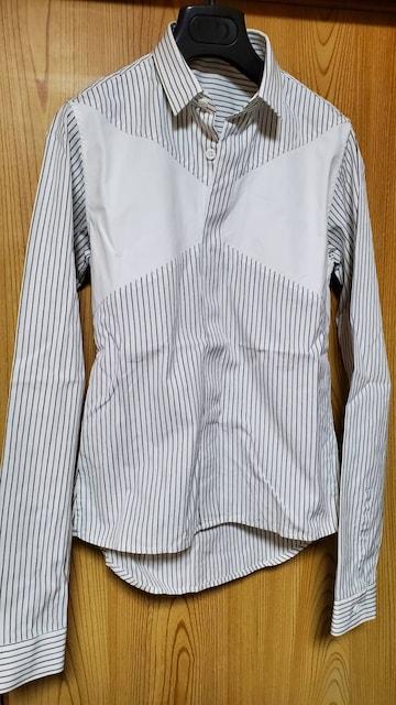 正規レア ディオールオム 比翼 細身ドレスシャツ 白 パネル 黒系ストライプ×比翼 36  < ブランドの