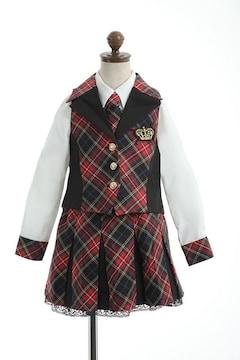 アイドル☆スーツ レッド赤チェック 110 ガールズキッズ