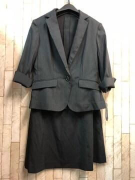新品☆9号♪ストライプ×黒系のスカートスーツ☆b346